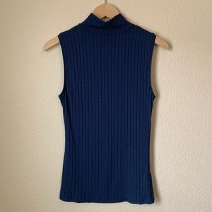 H&M Sleeveless Ribbed Turtleneck Navy Top
